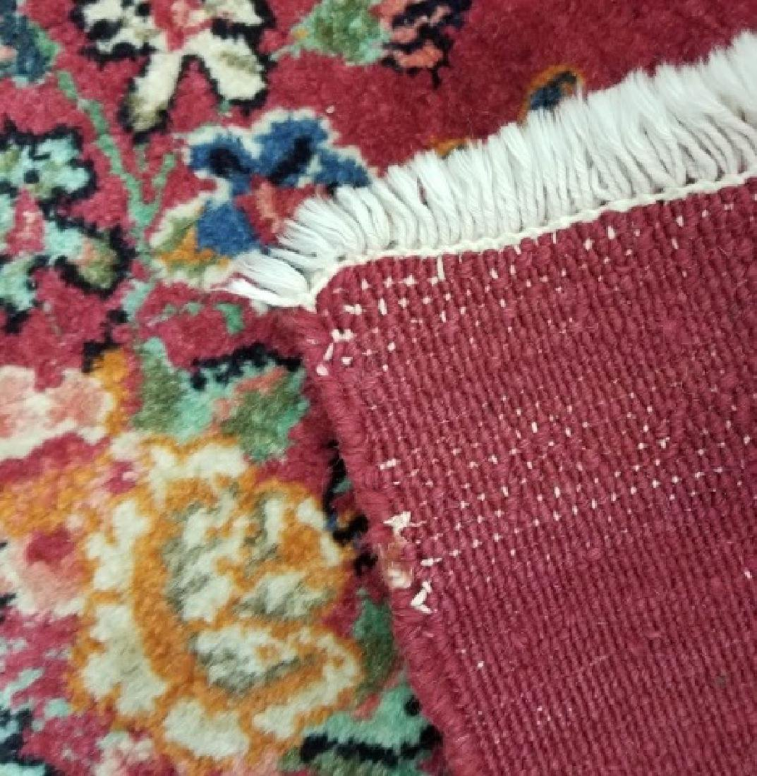 2 Antique Hand Knotted Wool Floral Bouquet Carpets - 2