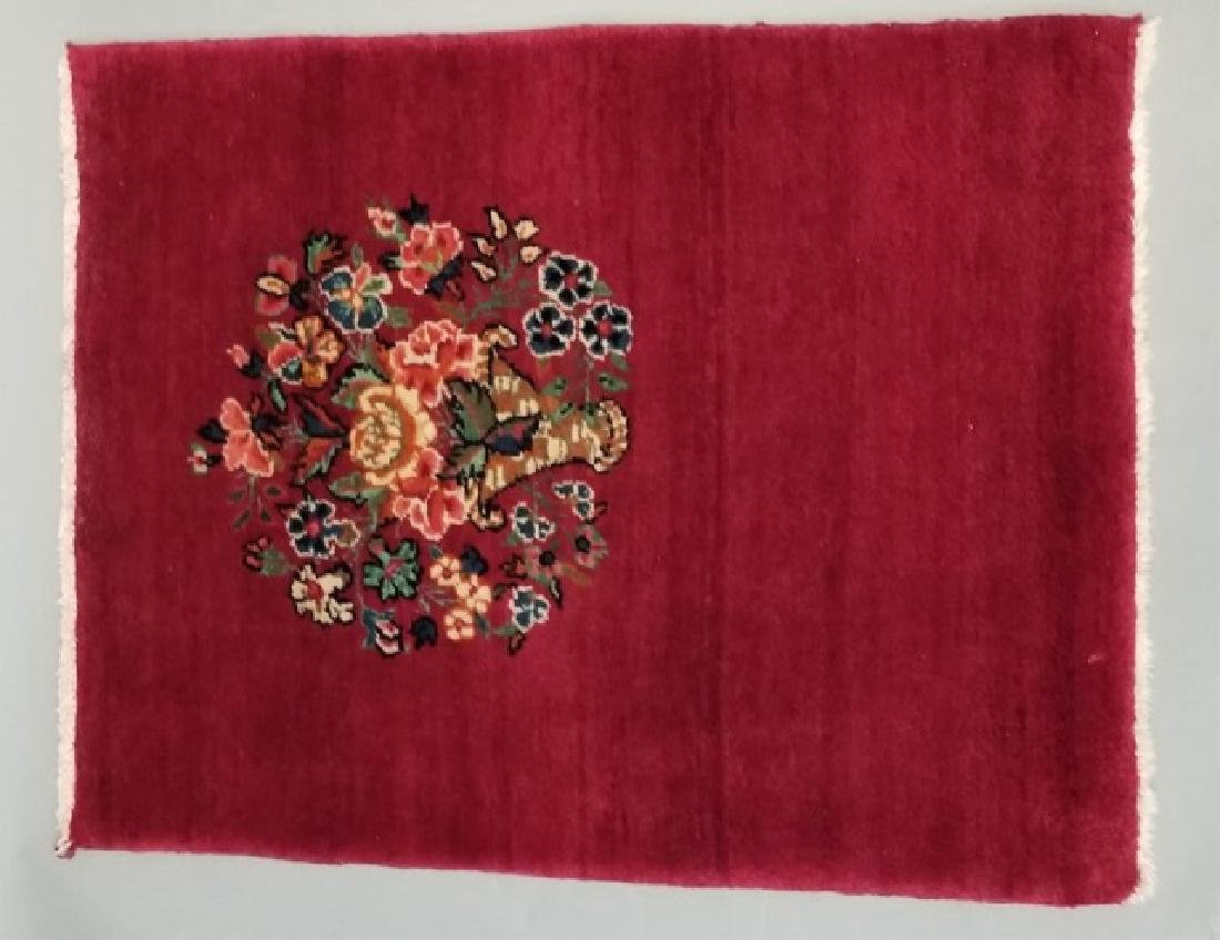 2 Antique Hand Knotted Wool Floral Bouquet Carpets - 4