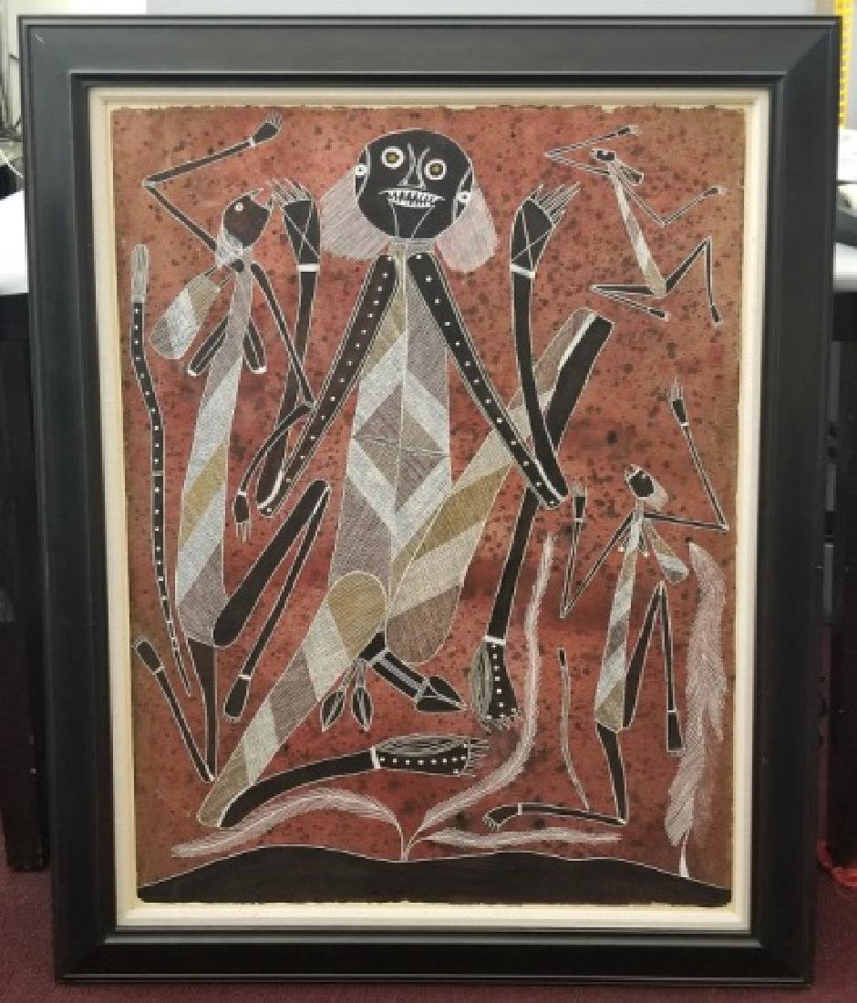 Large Framed Australian Aboriginal Style Textured