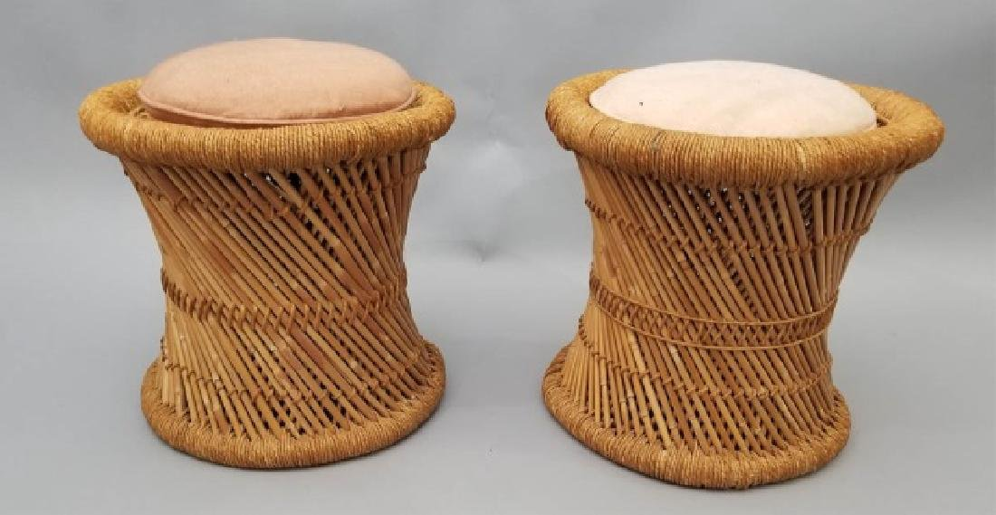 Pair of Rattan Twist Detail Stools with Cushions