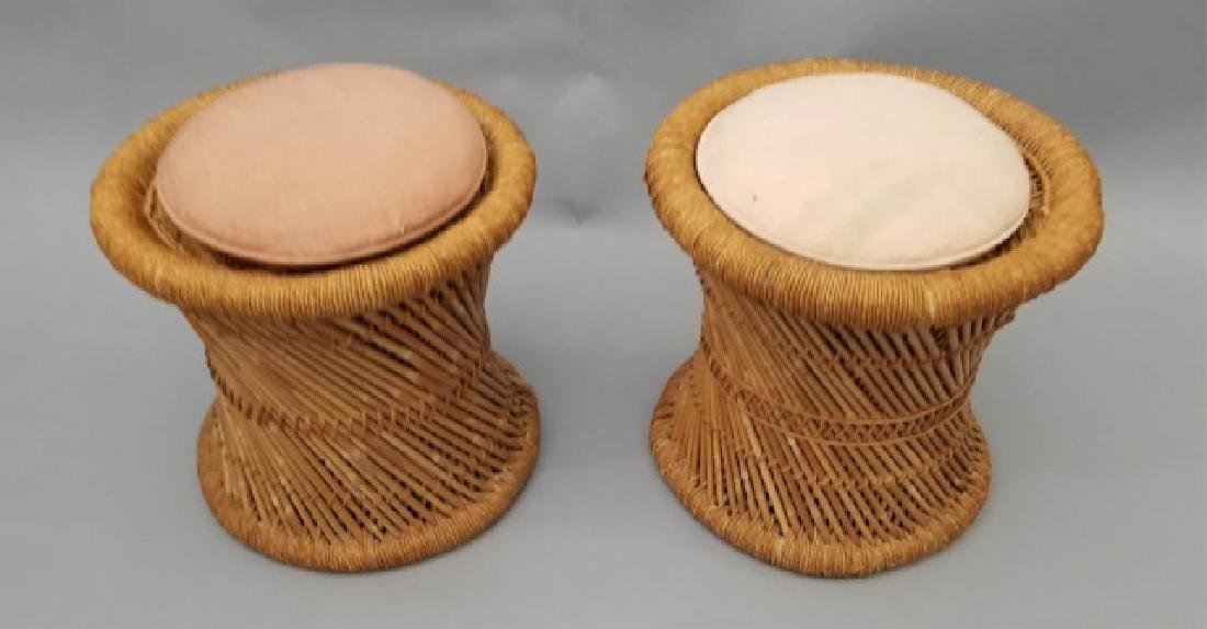 Pair of Rattan Twist Detail Stools with Cushions - 3