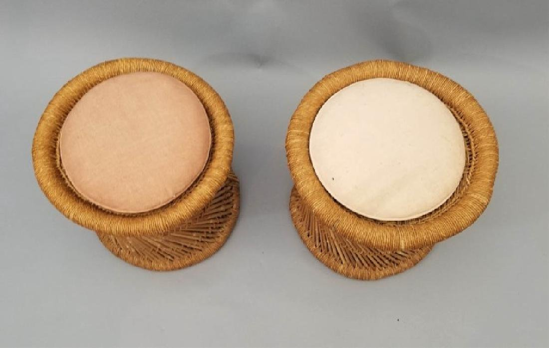 Pair of Rattan Twist Detail Stools with Cushions - 4