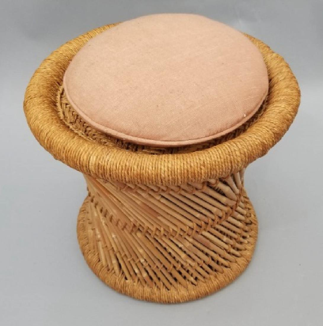 Pair of Rattan Twist Detail Stools with Cushions - 5