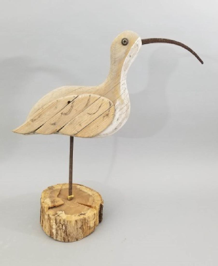Large Folk Art Curlew Wood & Iron Sculpture