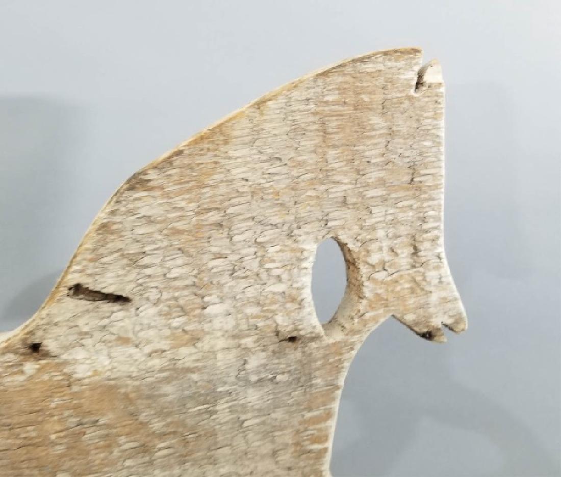 Antique Folk Art Running Horse Wooden Weathervane - 3