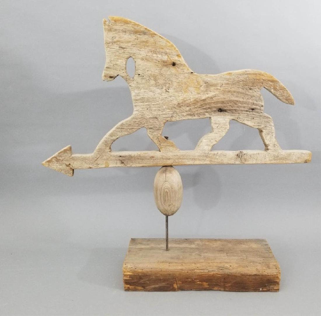 Antique Folk Art Running Horse Wooden Weathervane - 7