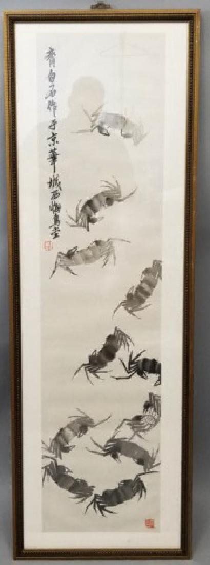 Framed & Signed Chinese Watercolor Scroll of Crabs
