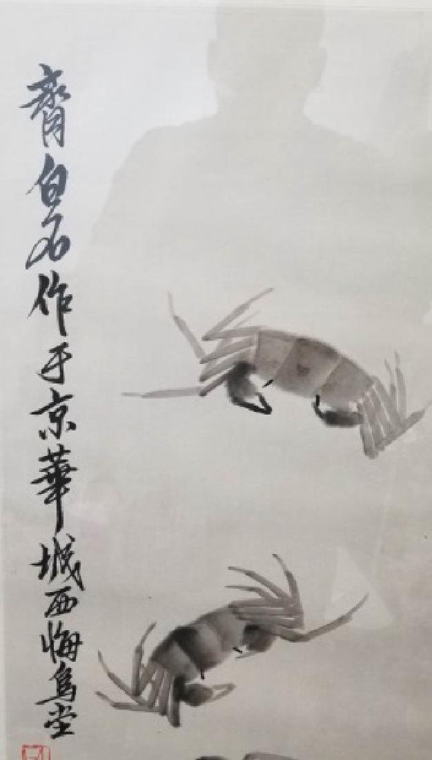 Framed & Signed Chinese Watercolor Scroll of Crabs - 3