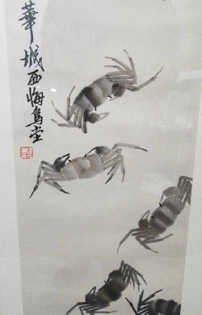 Framed & Signed Chinese Watercolor Scroll of Crabs - 4