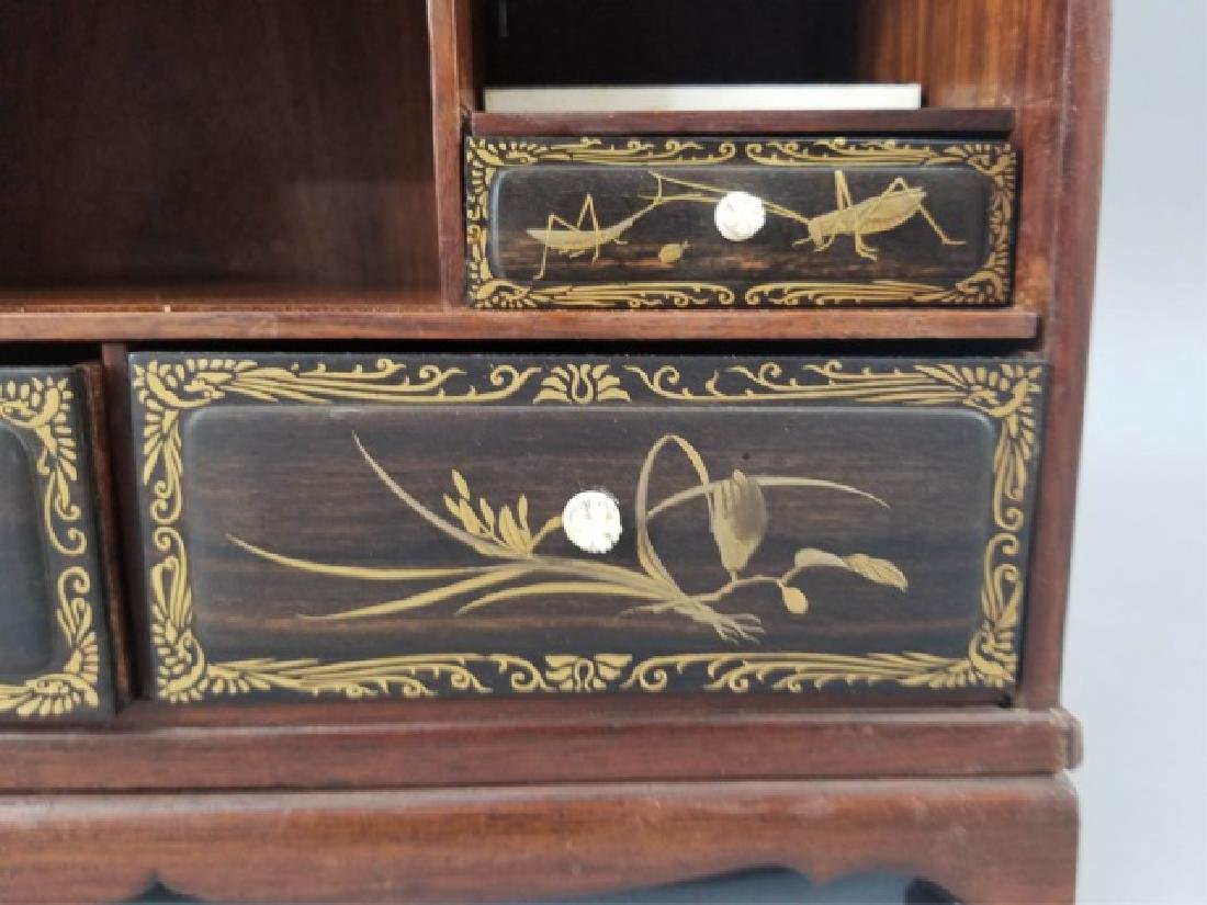 Carved Hand Painted & Bone Inlay Asian Jewelry Box - 5