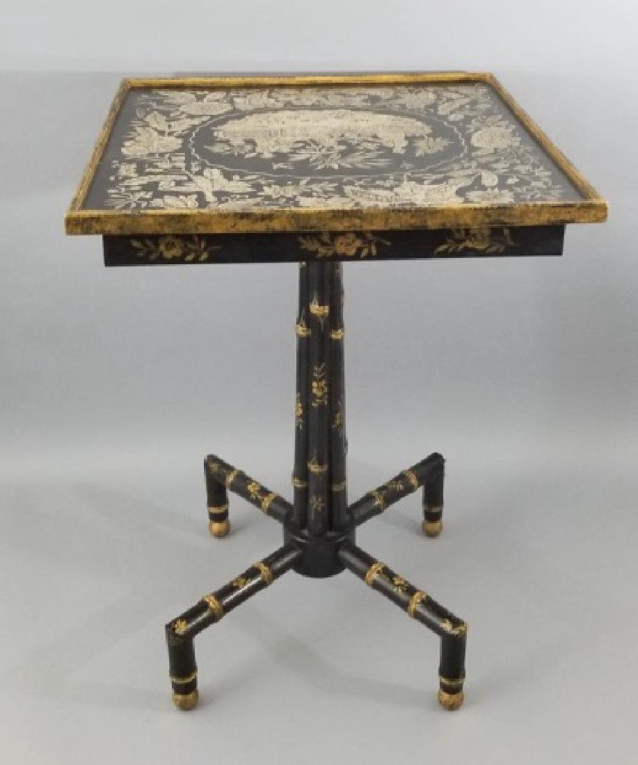 Asian / Chinoiserie Style Faux Bamboo End Table