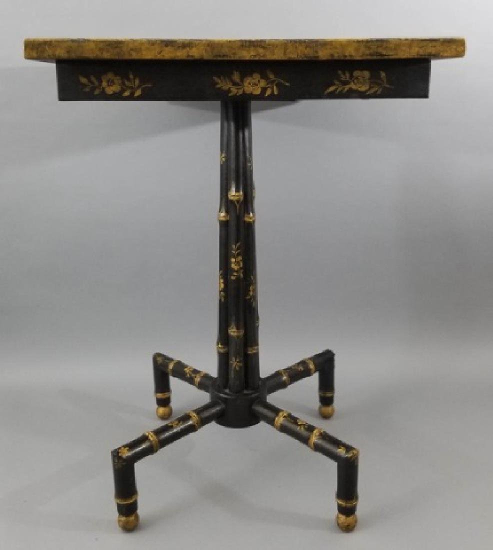 Asian / Chinoiserie Style Faux Bamboo End Table - 3