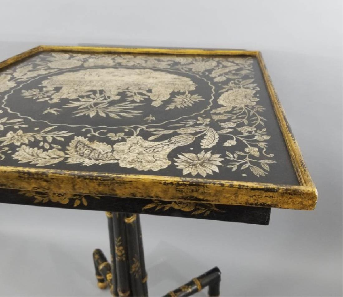 Asian / Chinoiserie Style Faux Bamboo End Table - 8