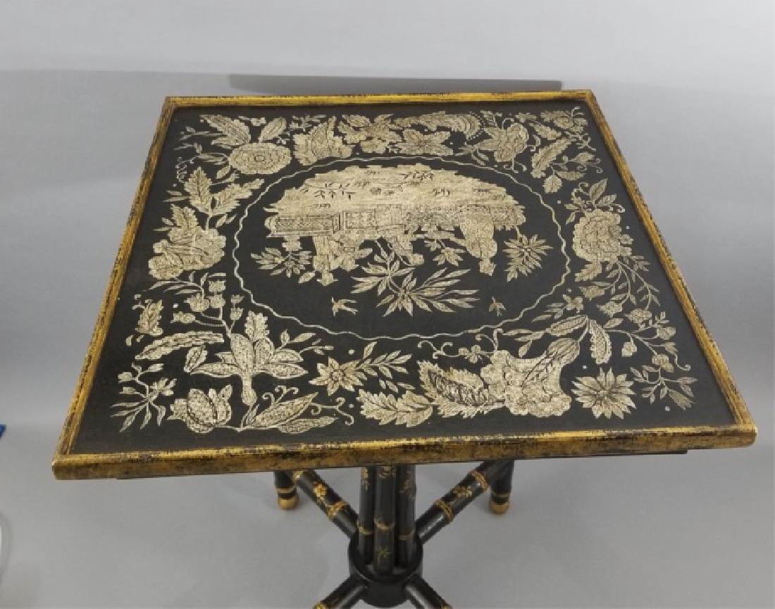 Asian / Chinoiserie Style Faux Bamboo End Table - 9