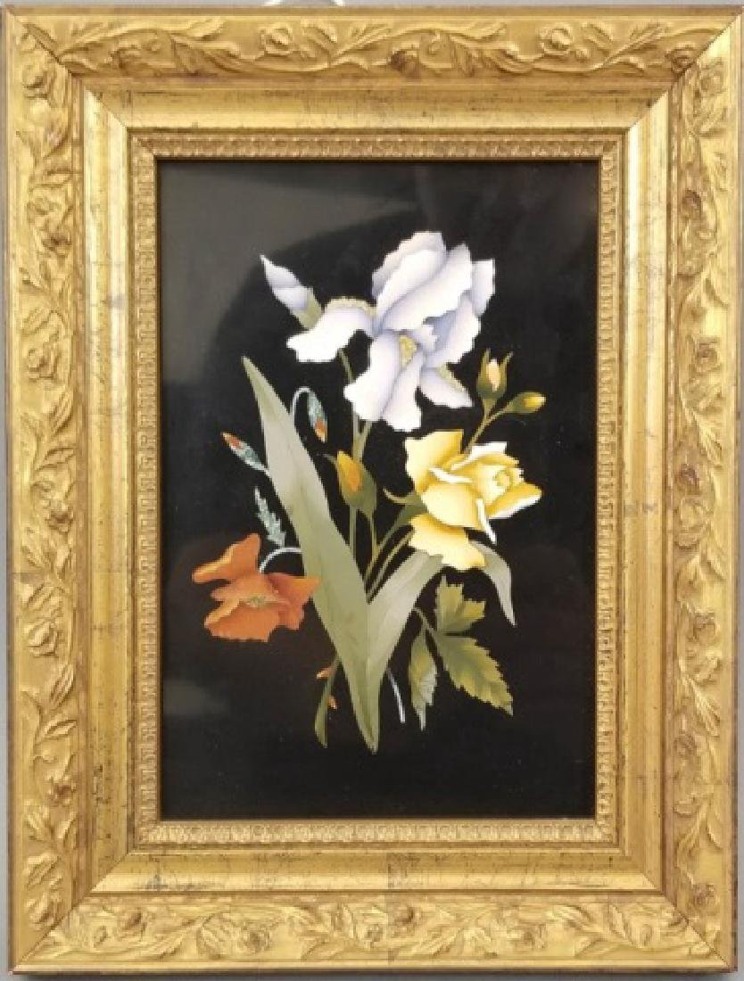 Pietra Dura Italian Floral Still Life Frame Plaque