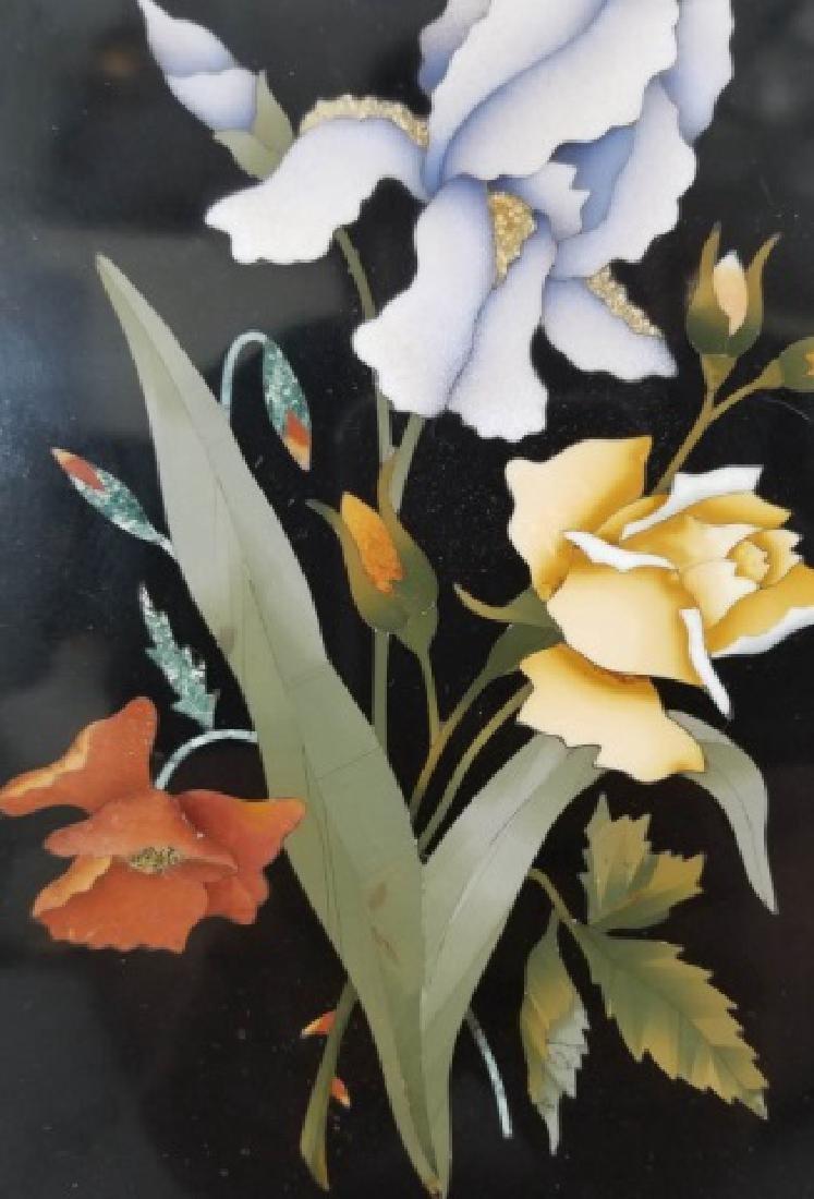 Pietra Dura Italian Floral Still Life Frame Plaque - 2
