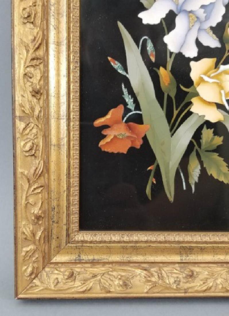 Pietra Dura Italian Floral Still Life Frame Plaque - 4