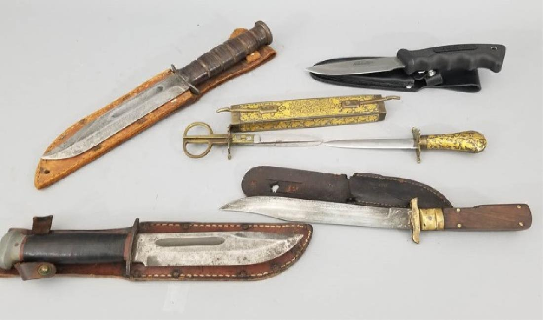 Four Vintage Hunting Knives & One Weapon