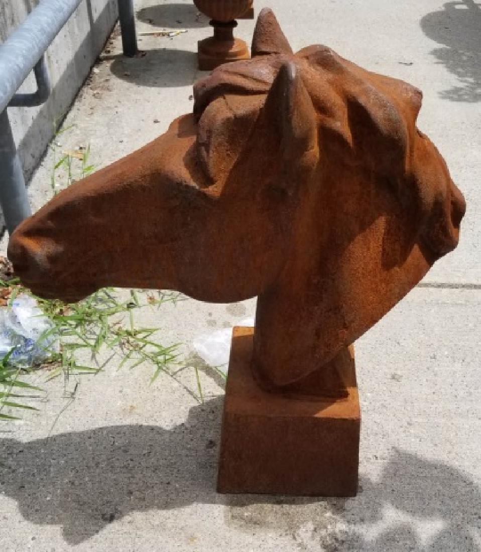 Cast Iron Equestrian / Horse Bust Garden Statue
