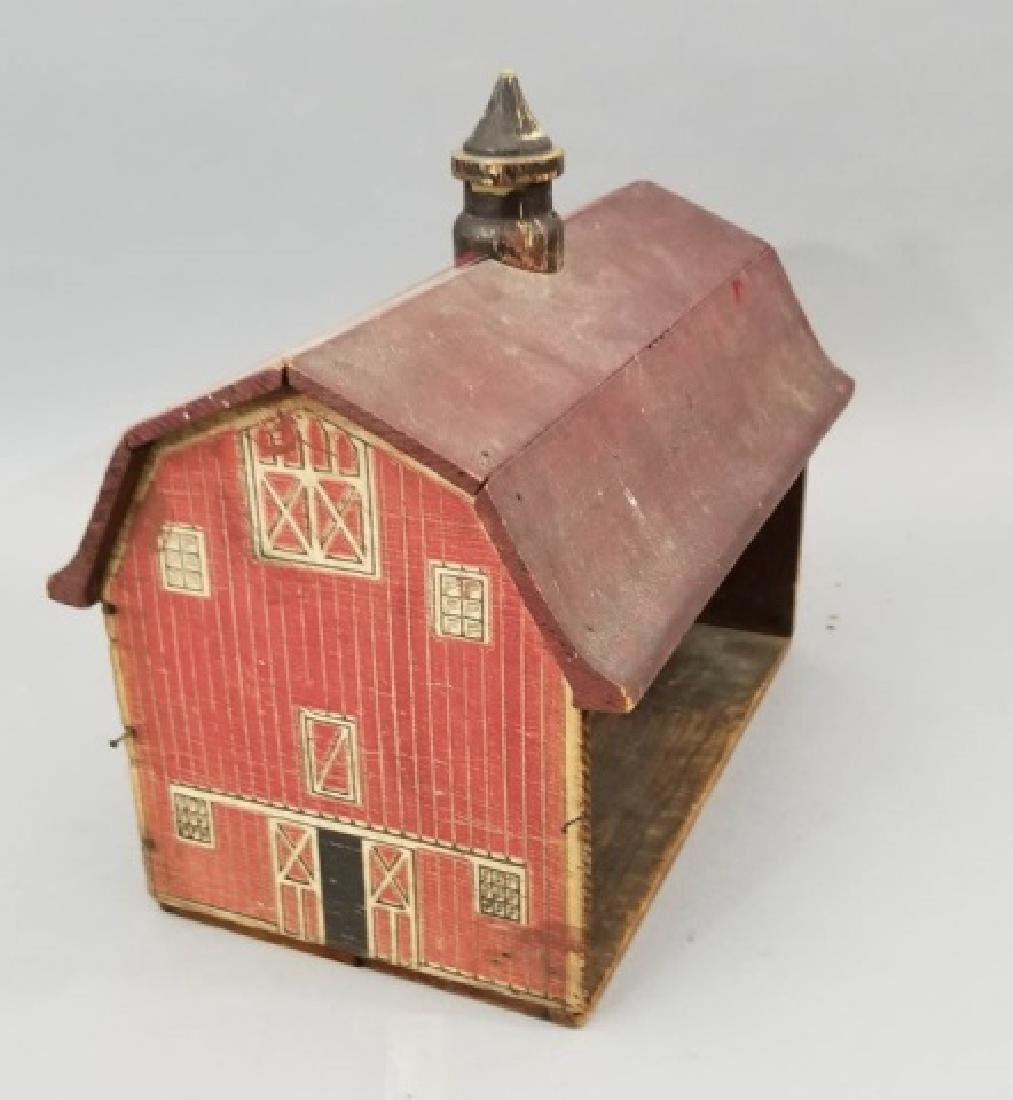 Antique Lithographed Wood Toy Barn Dollhouse Size