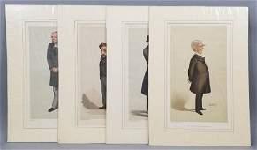 4 19thC Orig Lithos Vanity Fair - Statesmen