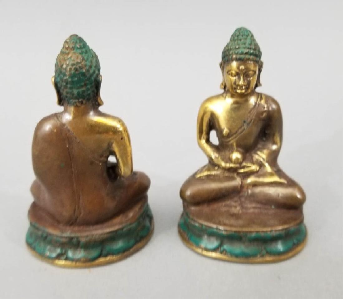 Pair Bronze Female Buddha on Lotus Flower Statues