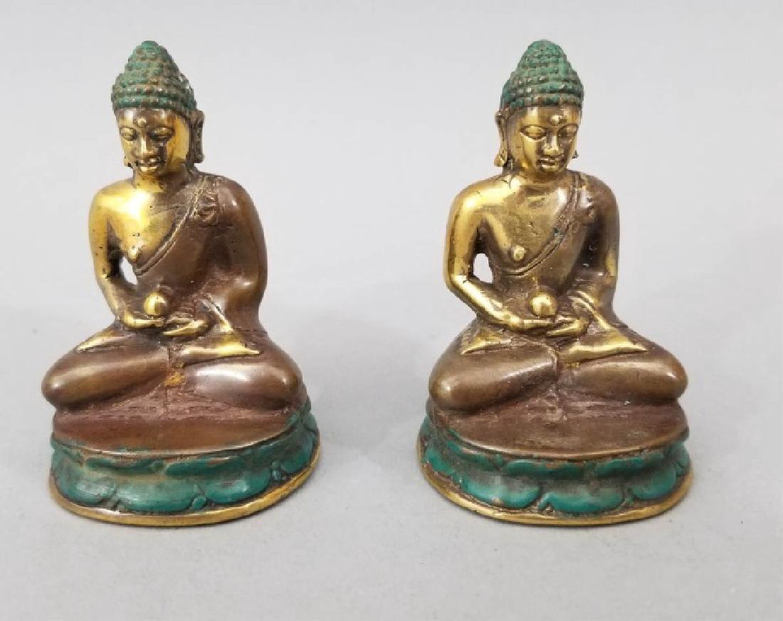 Pair Bronze Female Buddha on Lotus Flower Statues - 2