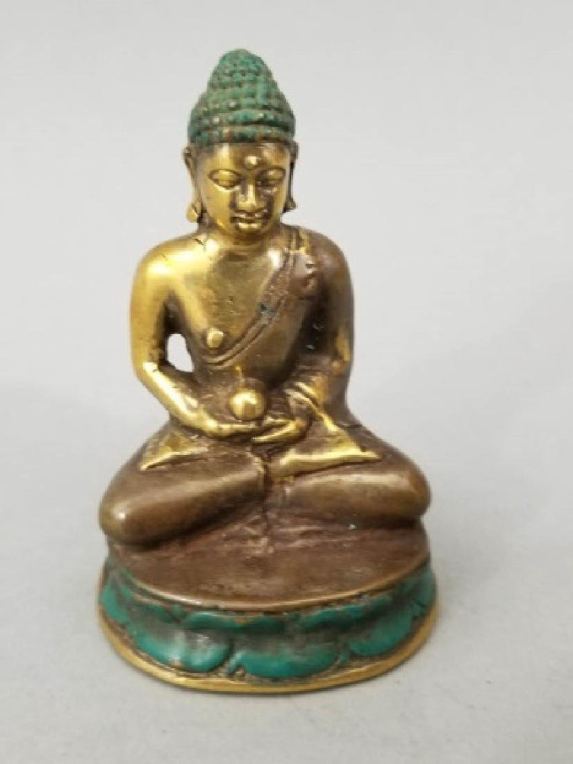 Pair Bronze Female Buddha on Lotus Flower Statues - 3