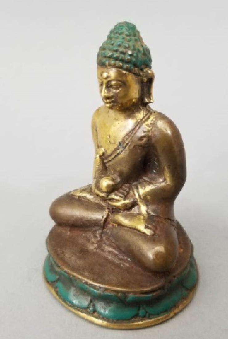 Pair Bronze Female Buddha on Lotus Flower Statues - 7