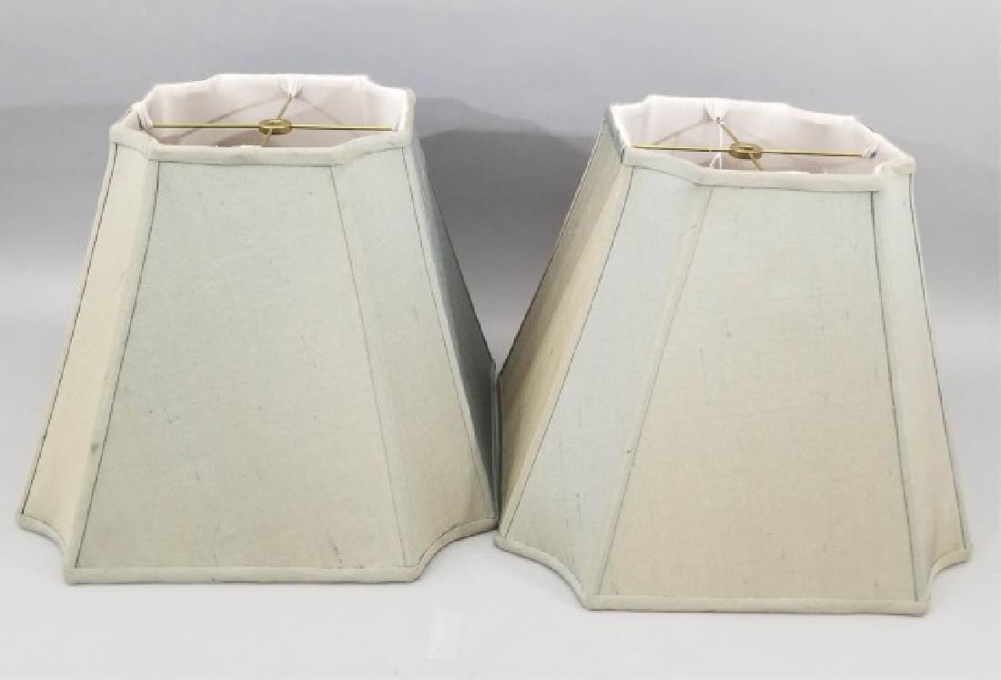 Pair Contemporary Raw Silk Designer Lamp Shades
