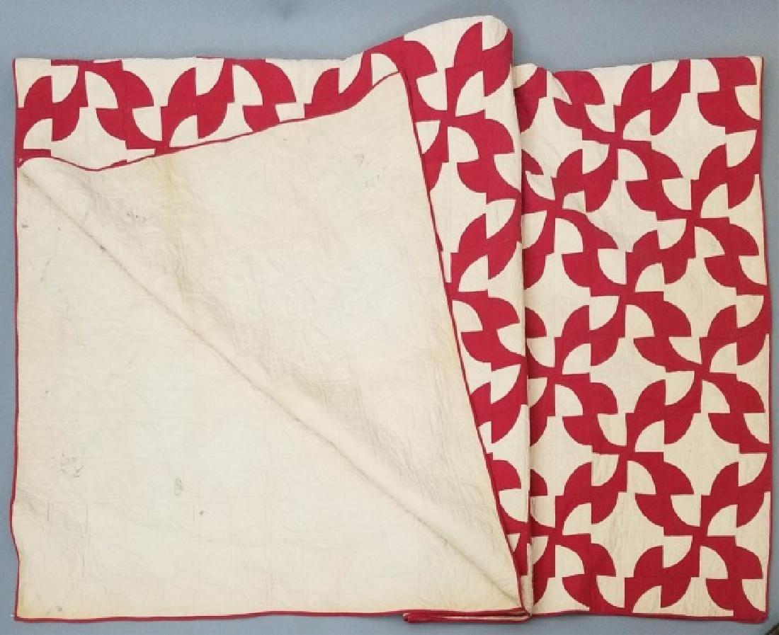 Antique Folk Art American Handmade Red White Quilt