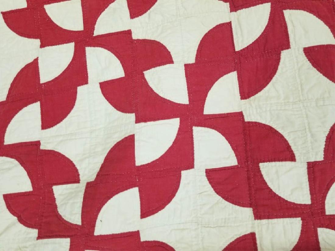 Antique Folk Art American Handmade Red White Quilt - 3