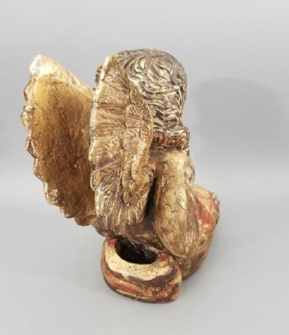Antique Hand Carved Cherub / Angel w Glass Eyes - 2
