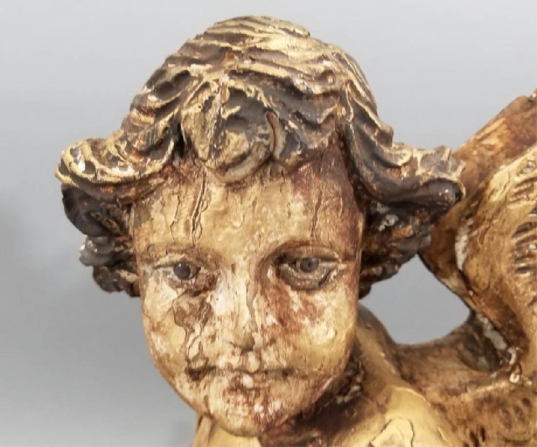 Antique Hand Carved Cherub / Angel w Glass Eyes - 3