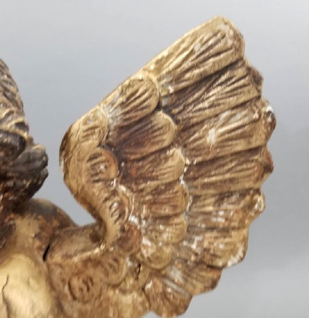 Antique Hand Carved Cherub / Angel w Glass Eyes - 4
