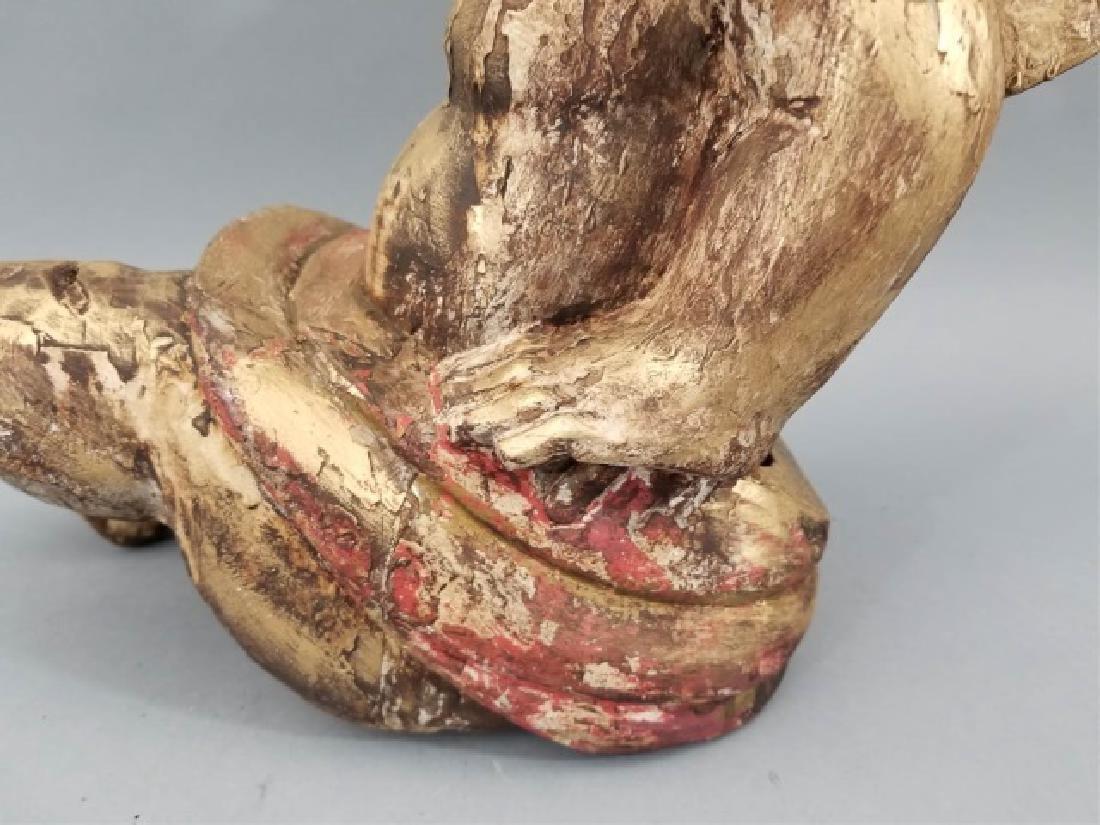 Antique Hand Carved Cherub / Angel w Glass Eyes - 5