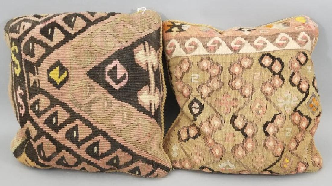 Pair Custom Made Oriental Carpet Tapestry Pillows