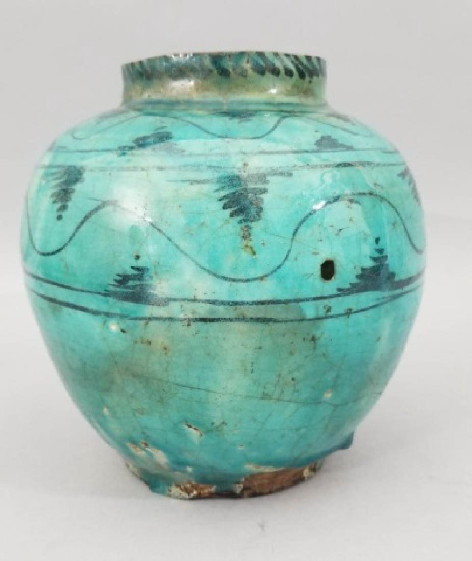 Antique Hand Painted Glazed Art Pottery Vase