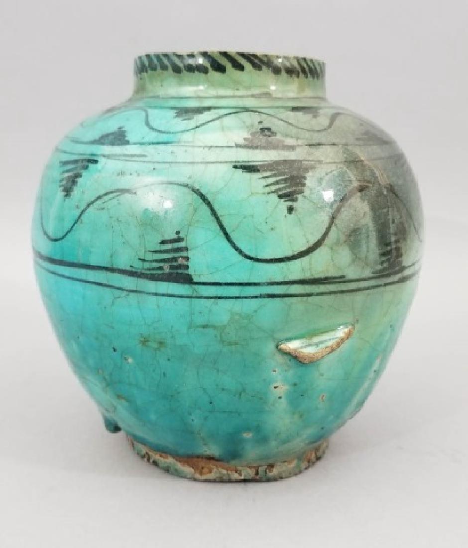 Antique Hand Painted Glazed Art Pottery Vase - 2
