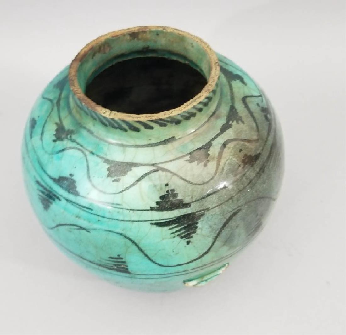 Antique Hand Painted Glazed Art Pottery Vase - 3