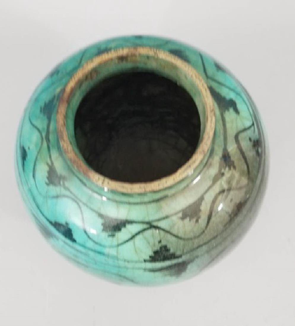 Antique Hand Painted Glazed Art Pottery Vase - 4