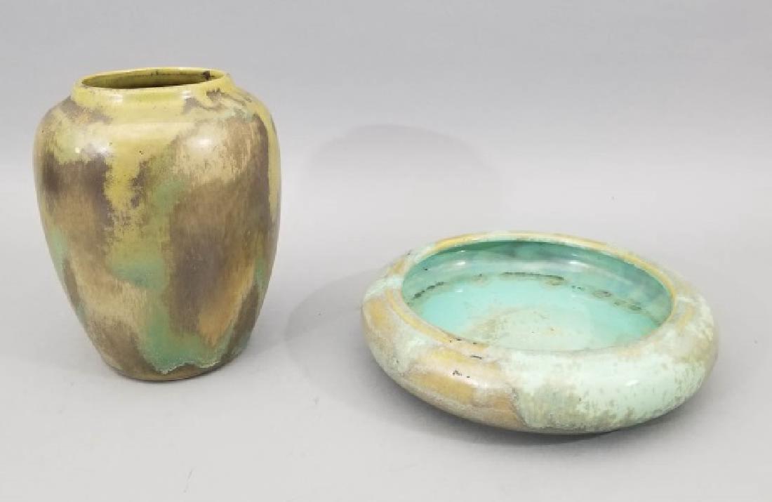 Vintage Red Wing & Fulper Art Pottery Vase & Bowl
