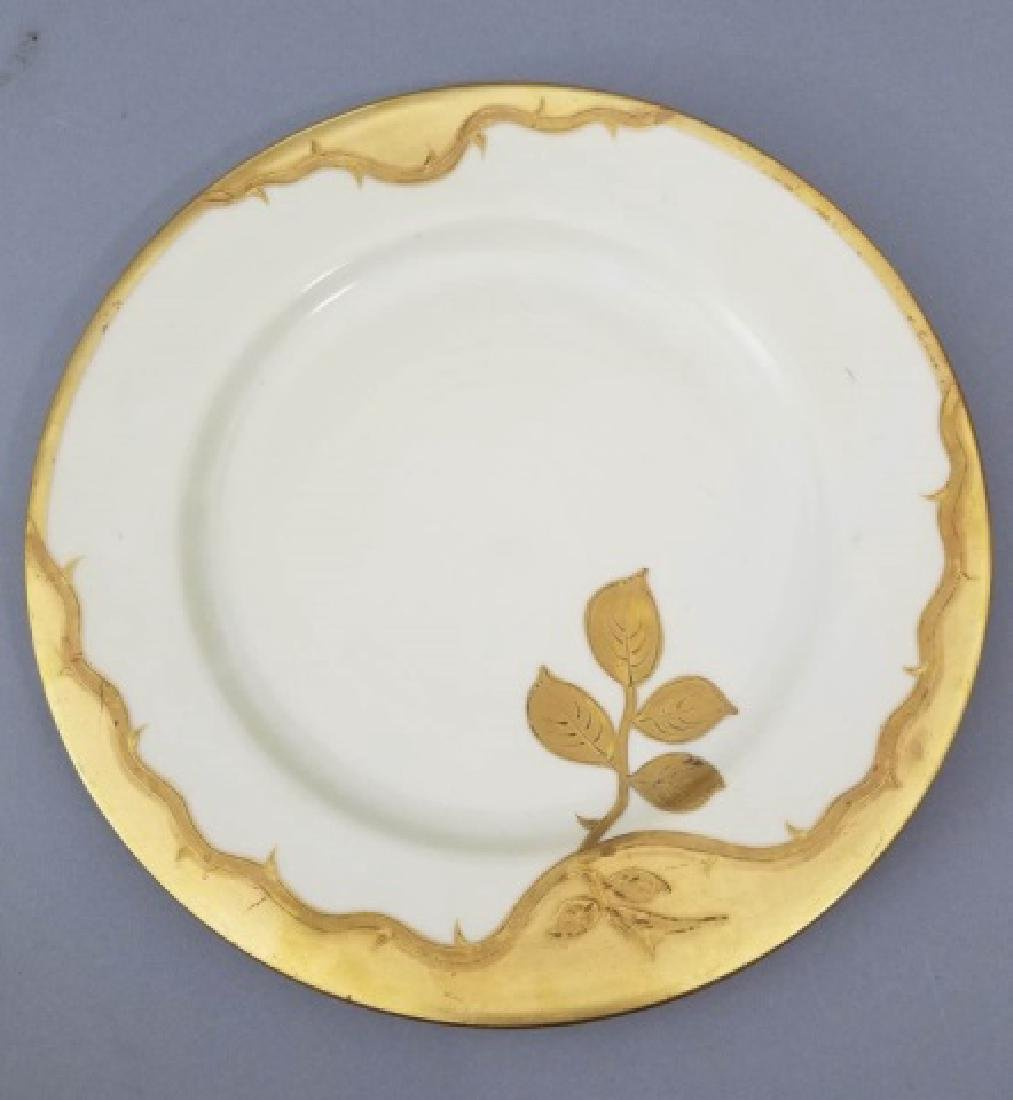12 Antique French Gold Decorated Dinner Plates - 2