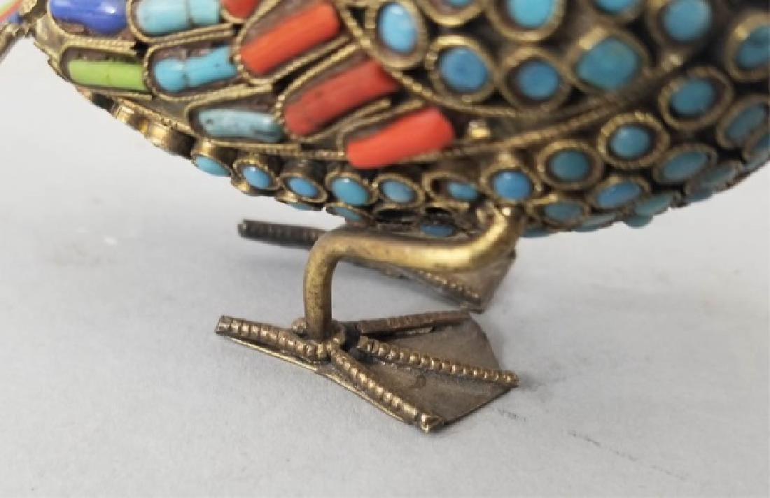Turquoise & Coral Inlaid Bird Table Statue - 6