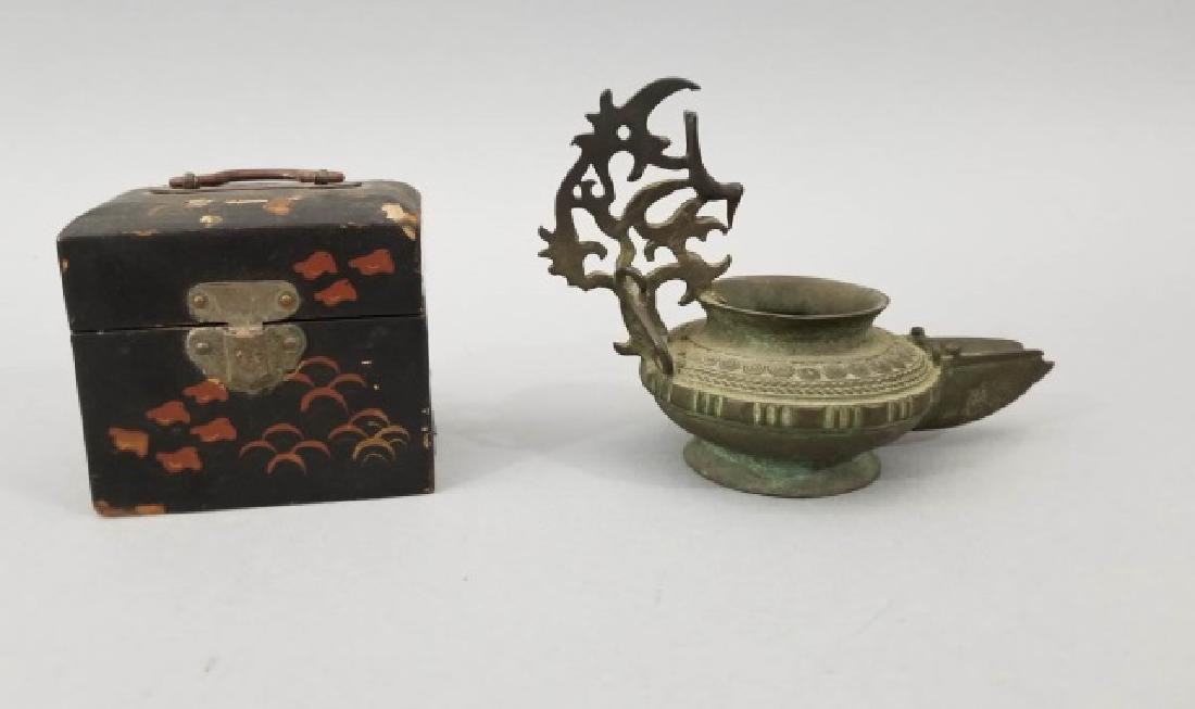 Antique Japanese Box & Middle Eastern Lantern Lamp