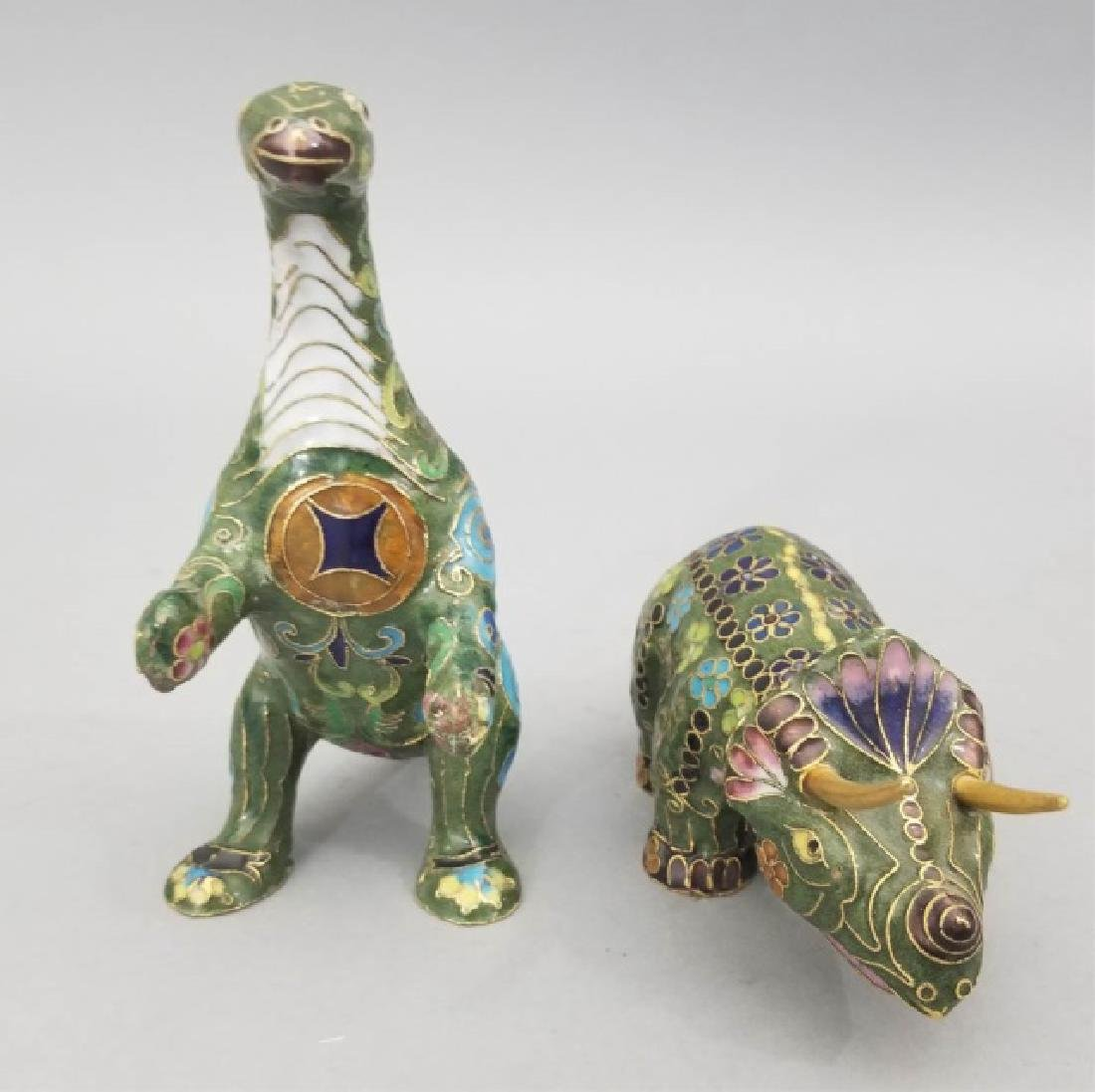 Two Vintage Asian Cloisonne Animal Table Statues