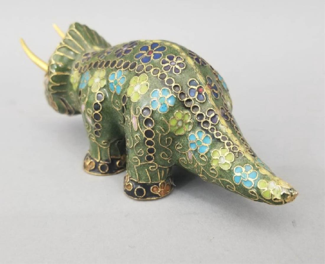 Two Vintage Asian Cloisonne Animal Table Statues - 2