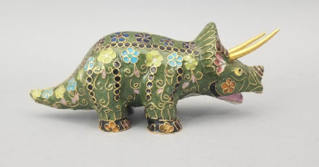 Two Vintage Asian Cloisonne Animal Table Statues - 7