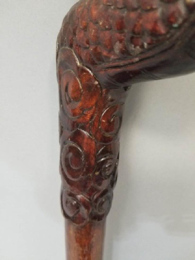 Chinese Hand Carved Hard Wood Dragon Cane - 7