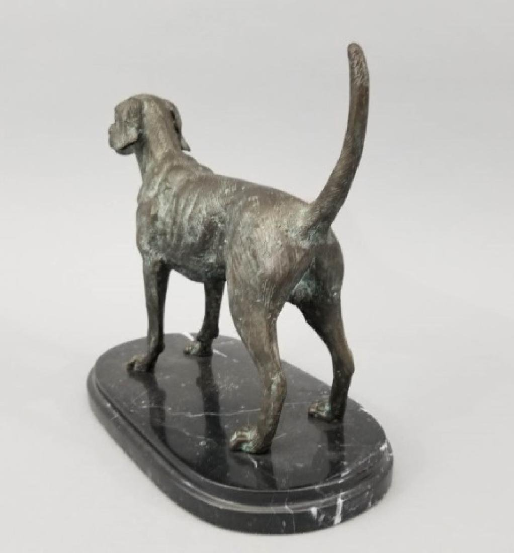 Dog Table Statue w Carved Oval Marble Base - 2